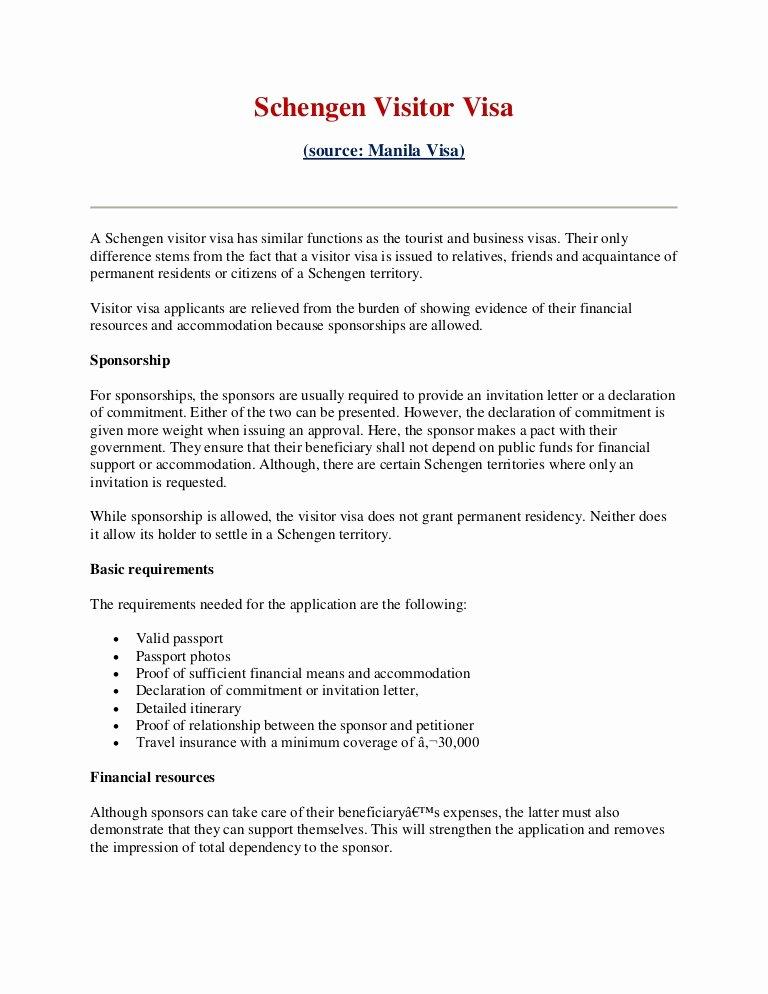Sponsorship Letter for Visa Fresh Schengen Visitor Visa