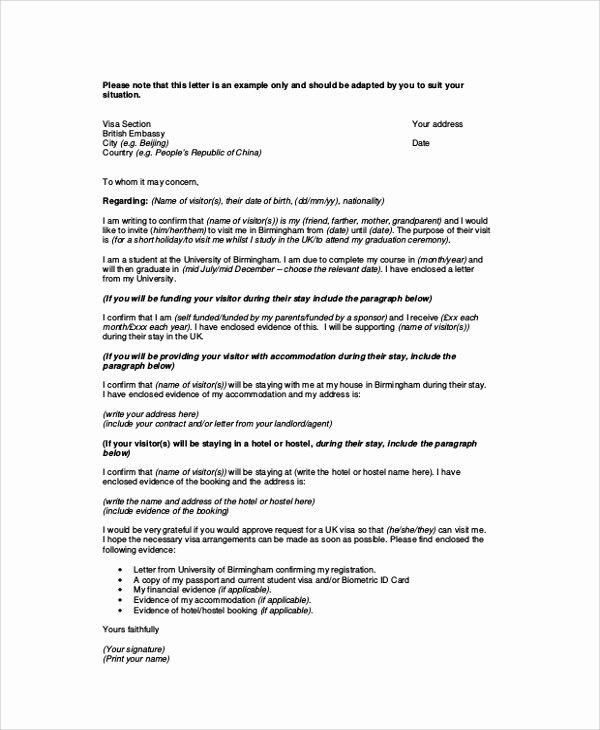 Sponsorship Letter for Visa Inspirational 12 Sample Visa Sponsorship Letters Pdf Doc