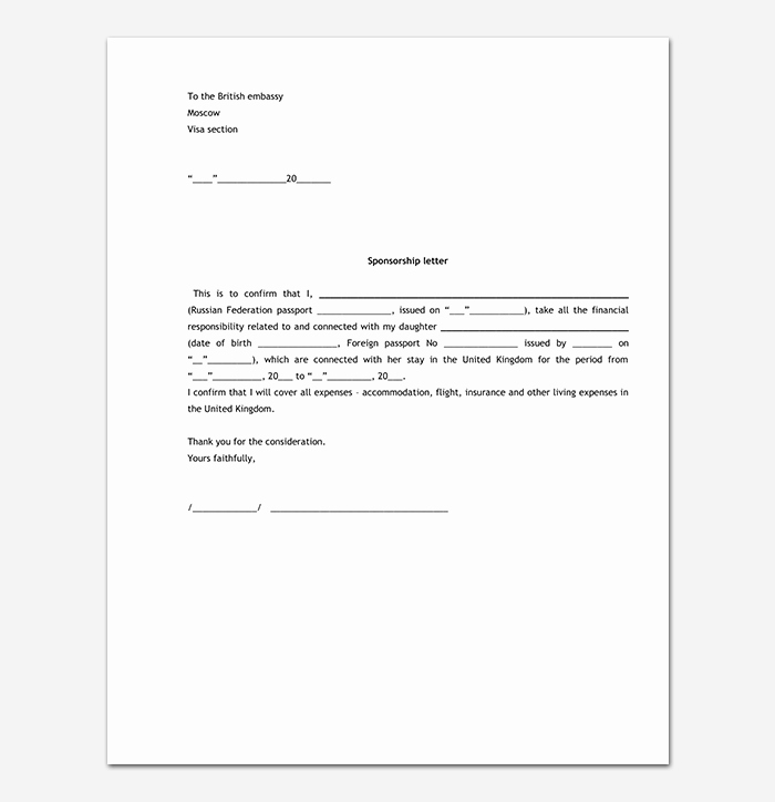 Sponsorship Letter for Visa Inspirational Sponsorship Request Letter format with 13 Sample Letters