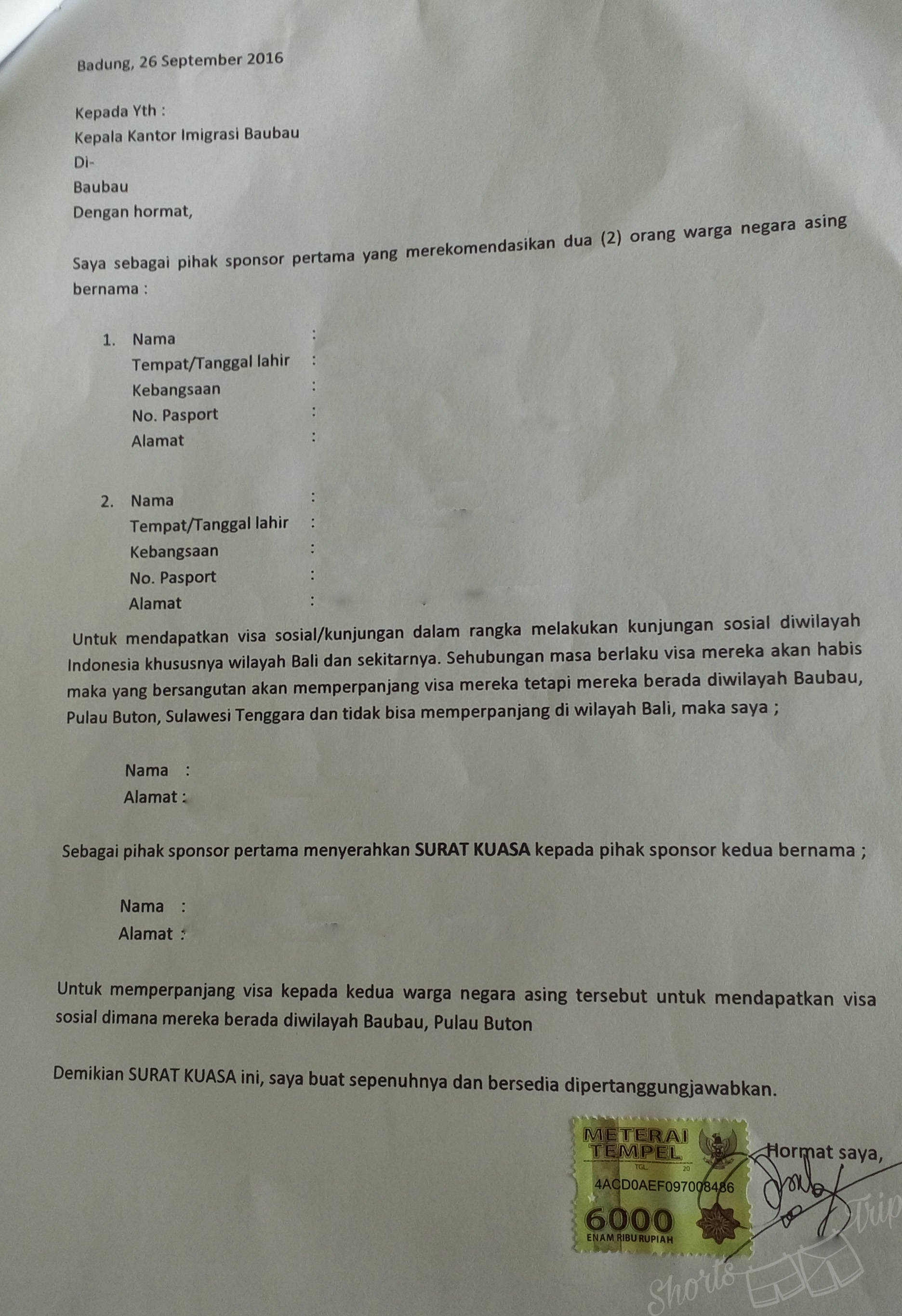 Sponsorship Letter for Visa Luxury social Visa to Indonesia