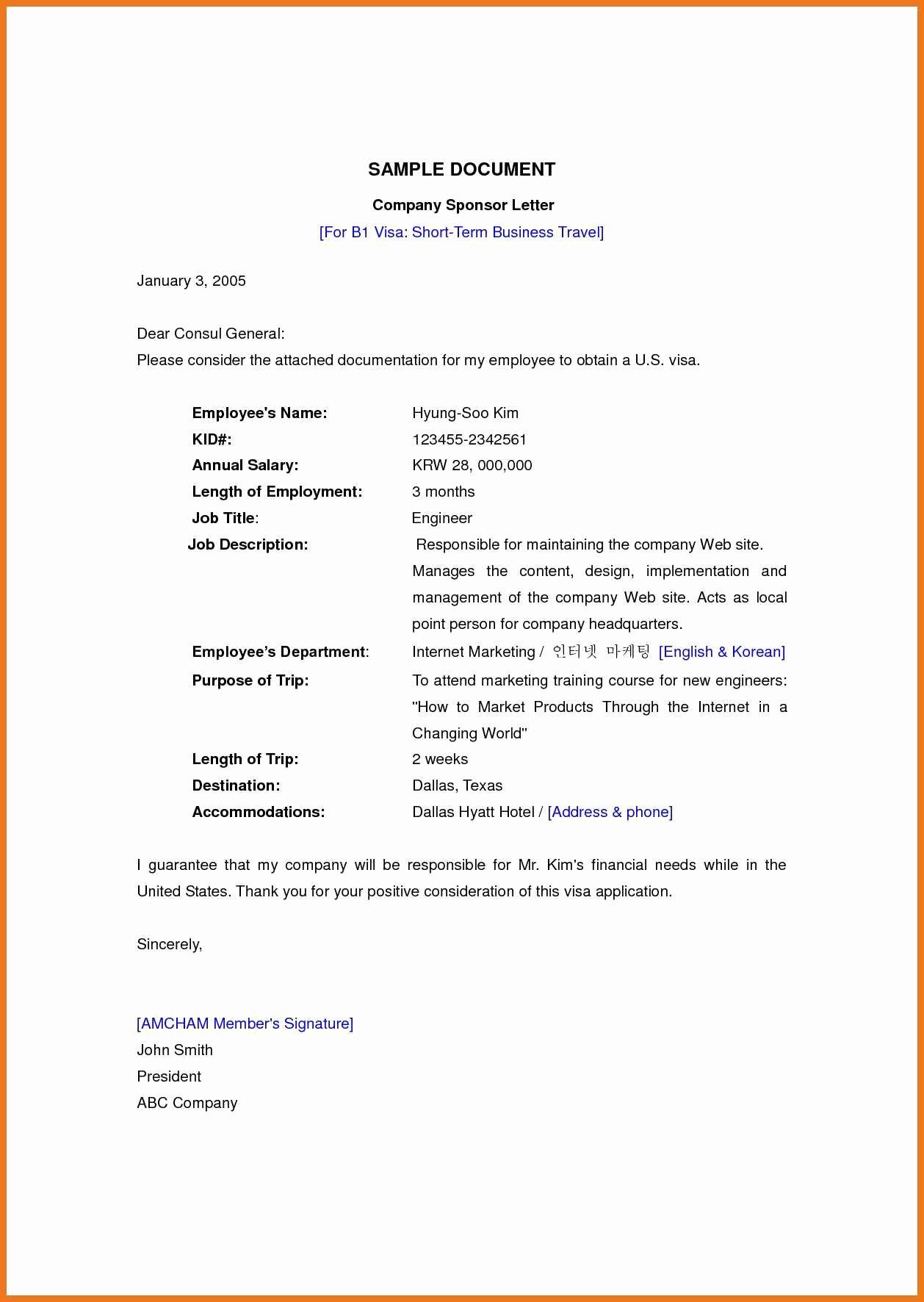 Sponsorship Letter for Visa Unique 9 10 Sponsorship Letter for Us Visa