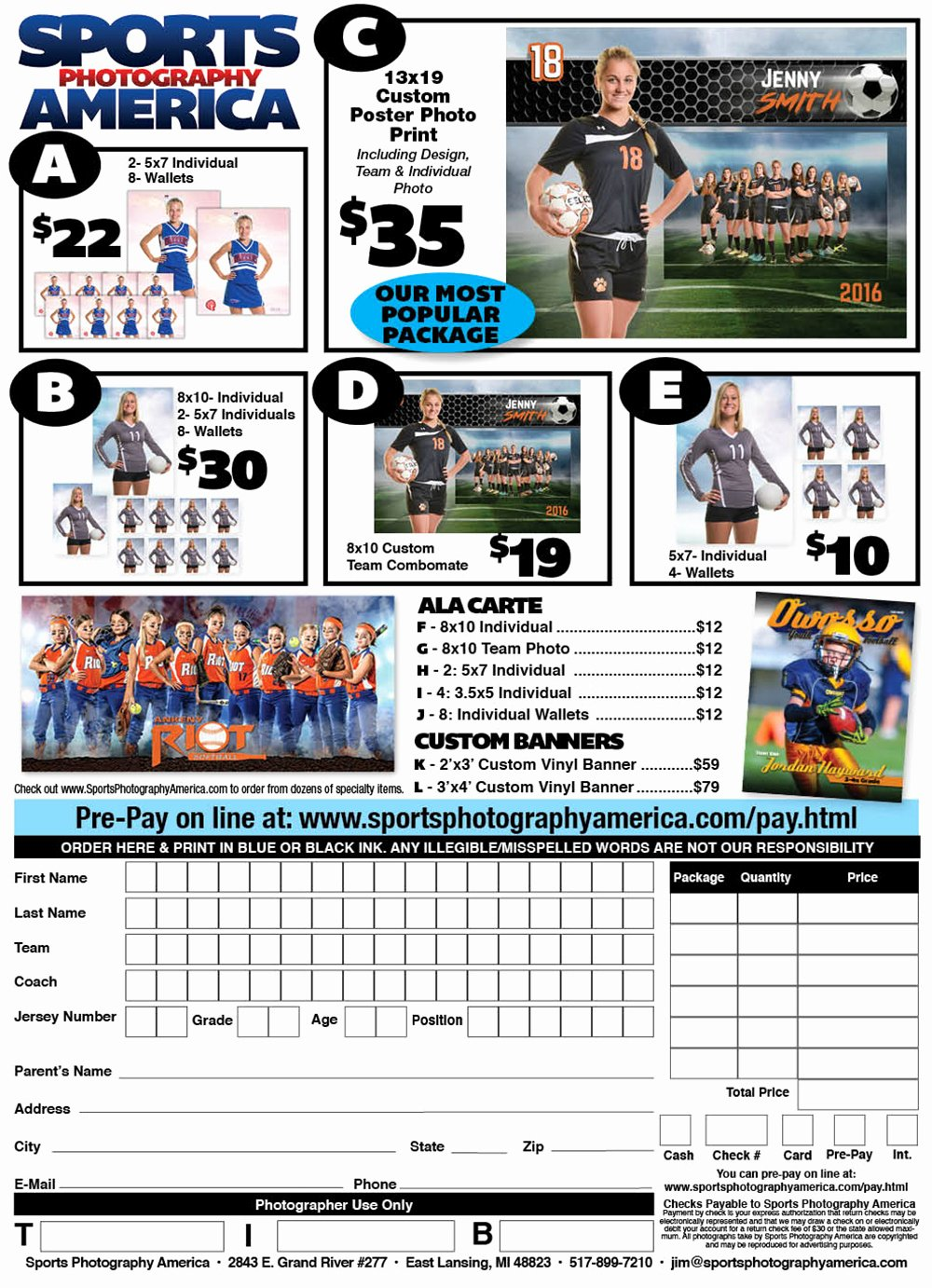Sports Photography order form Templates Elegant Sports Graphy America order form