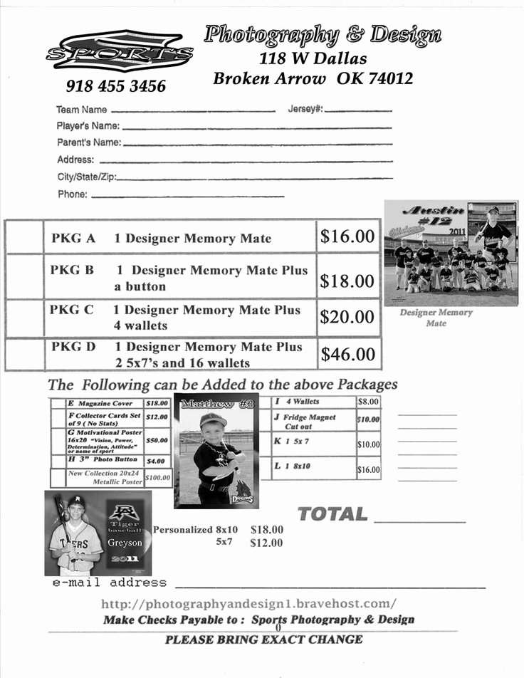 Sports Photography order form Templates Elegant Youth Sports Photography order form