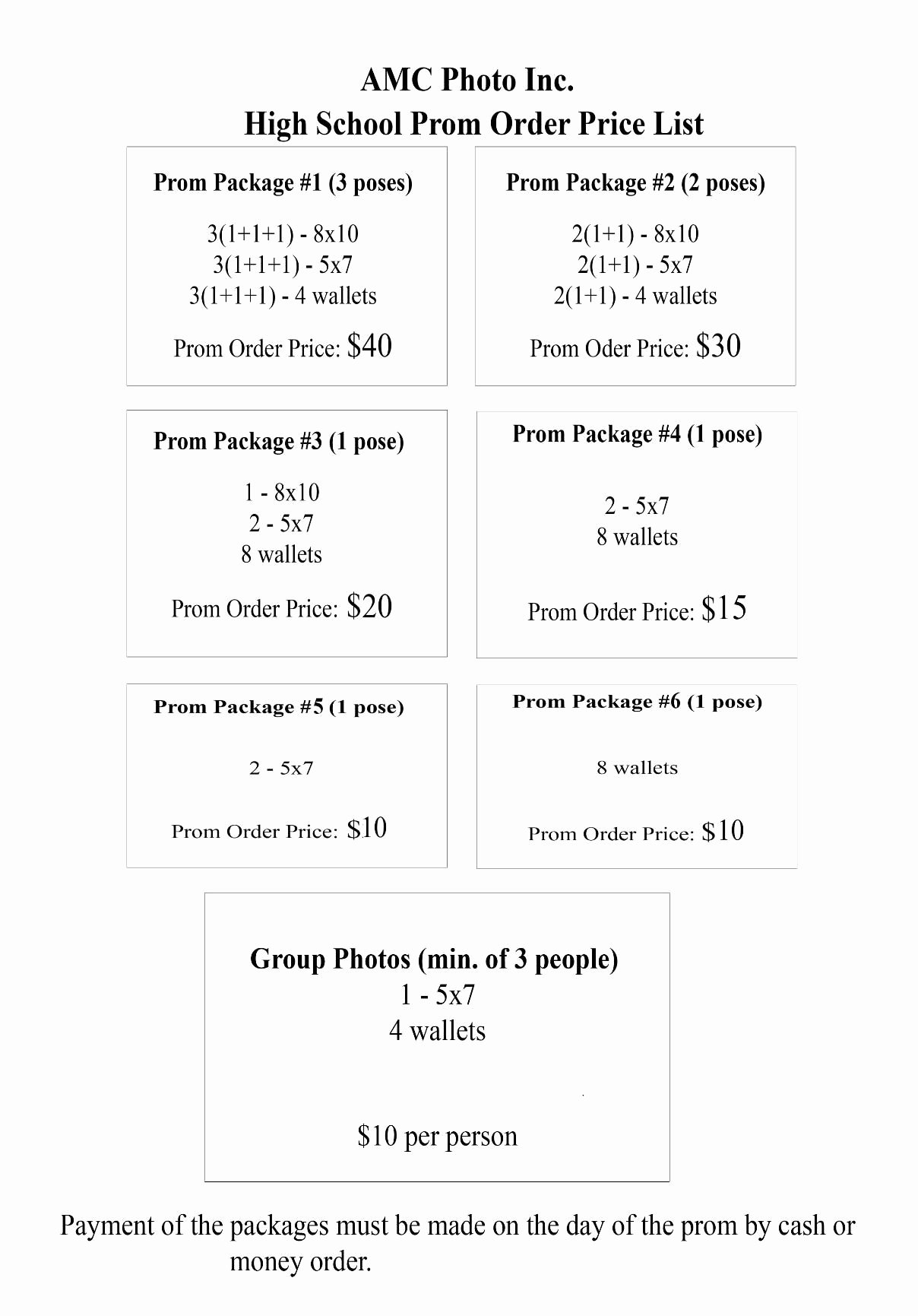 Sports Photography order form Templates Inspirational Prom Pricing Pricing Menus
