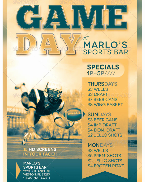 Sports Poster Templates Free Inspirational Game Day Sports Bar Flyer Template Party Flyer Templates