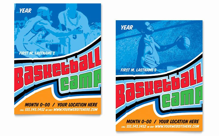 Sports Poster Templates Free Lovely Basketball Sports Camp Poster Template Word & Publisher