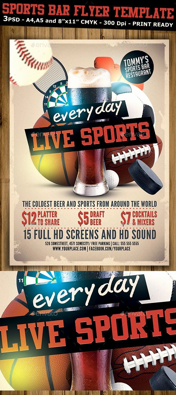 Sports Poster Templates Free Luxury Sports Bar Flyer Template V2