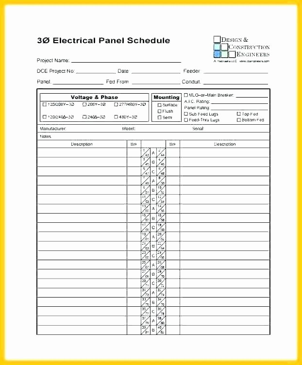 Square D Panel Schedule Unique Electrical Panel Directory Template – Automotoreadfo