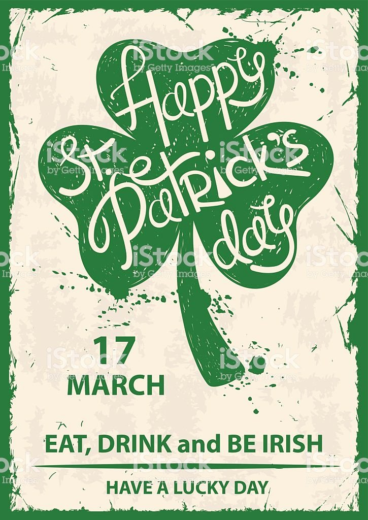 St Patrick Day Posters Awesome Retro St Patricks Day Typography Poster with Shamrock