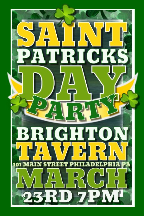 St Patrick Day Posters Beautiful Saint Patricks Day Template