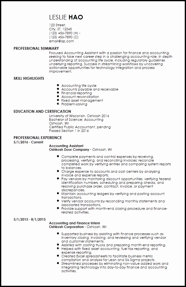 Staff Accountant Resume Summary Awesome Free Entry Level Accounting & Finance Resume Templates