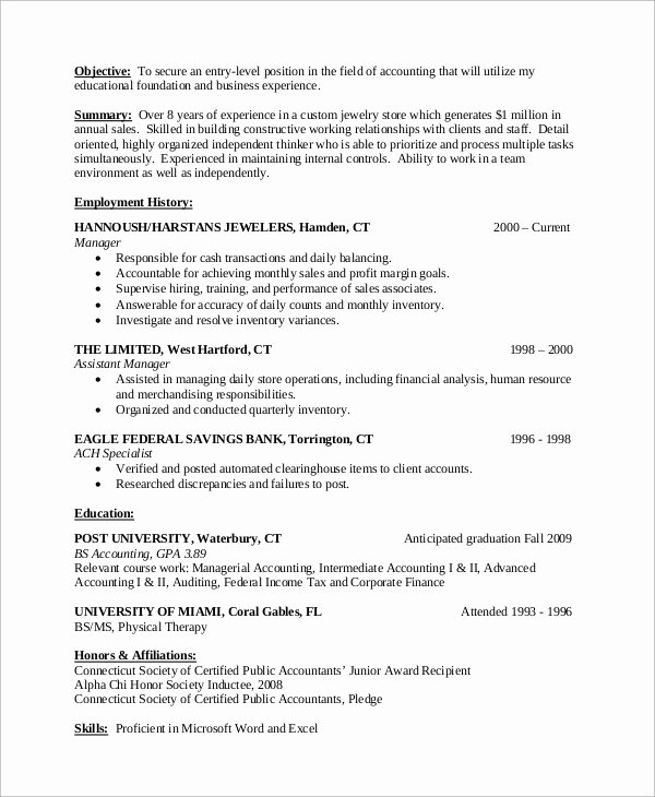 Staff Accountant Resume Summary Best Of Entry Level Resume Example 10 Samples In Word Pdf