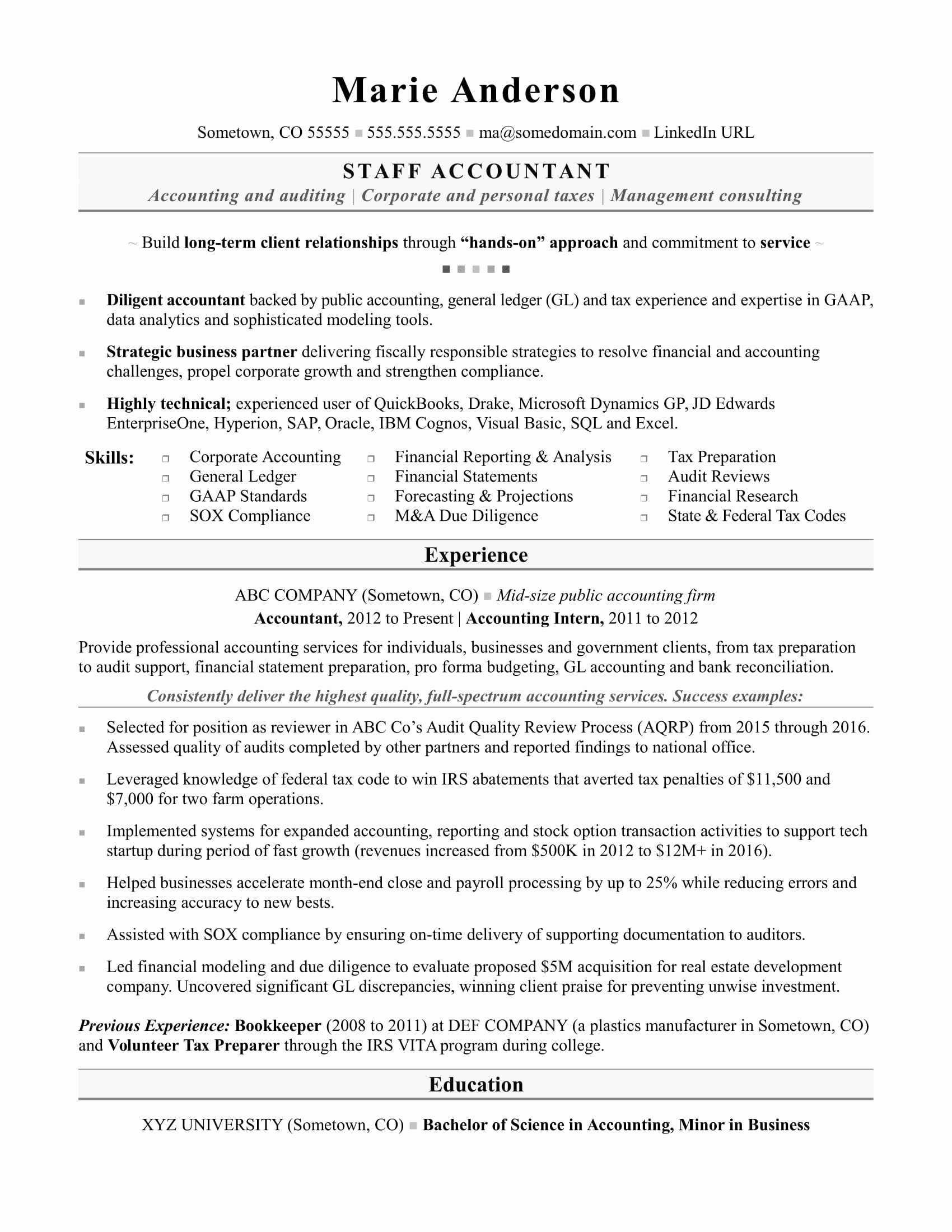 Staff Accountant Resume Summary Inspirational Accounting Resume Sample