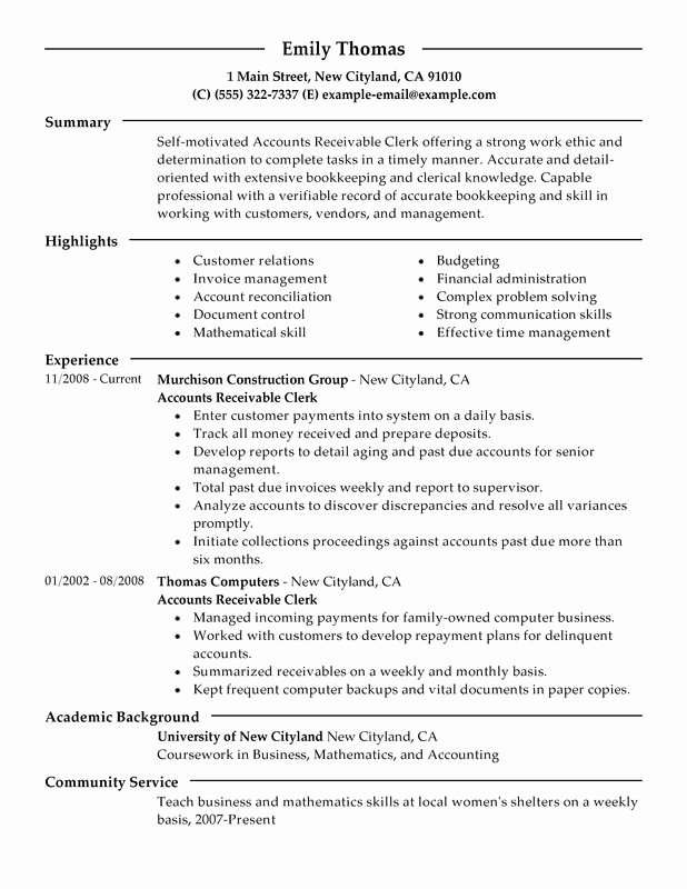 Staff Accountant Resume Summary Inspirational Accounts Receivable Clerk Resume Sample Technology