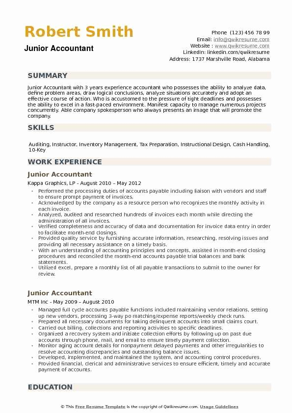 Staff Accountant Resume Summary Lovely Junior Accountant Resume Samples