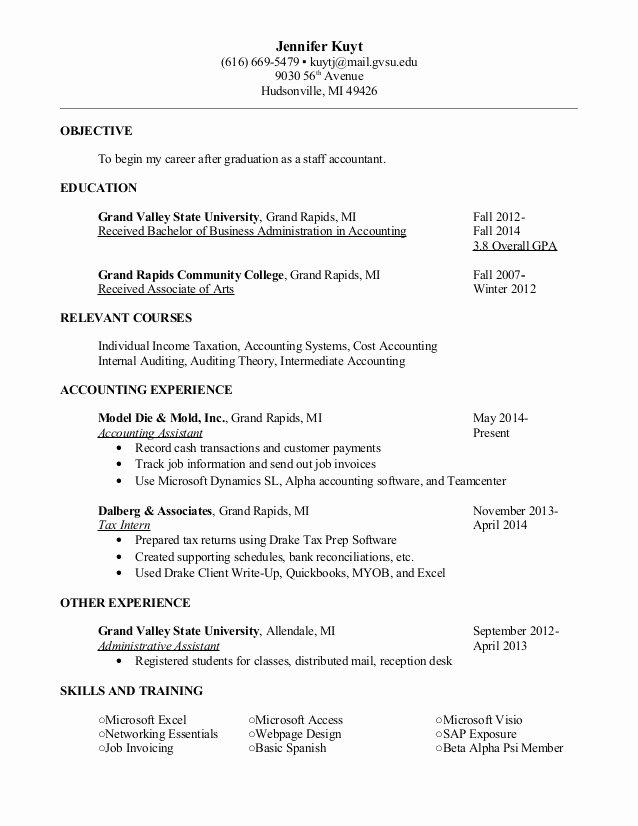 Staff Accountant Resume Summary Lovely Kuyt Jennifer Resume Jan 2015 Staff Accountant