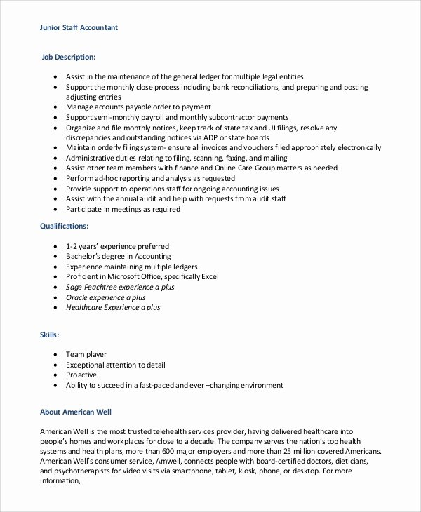 Staff Accountant Resume Summary Lovely Sample Staff Accountant Job Description 9 Examples In
