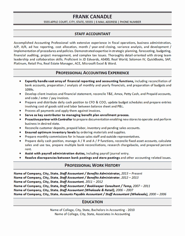 Staff Accountant Resume Summary Lovely Staff Accountant Resume Example