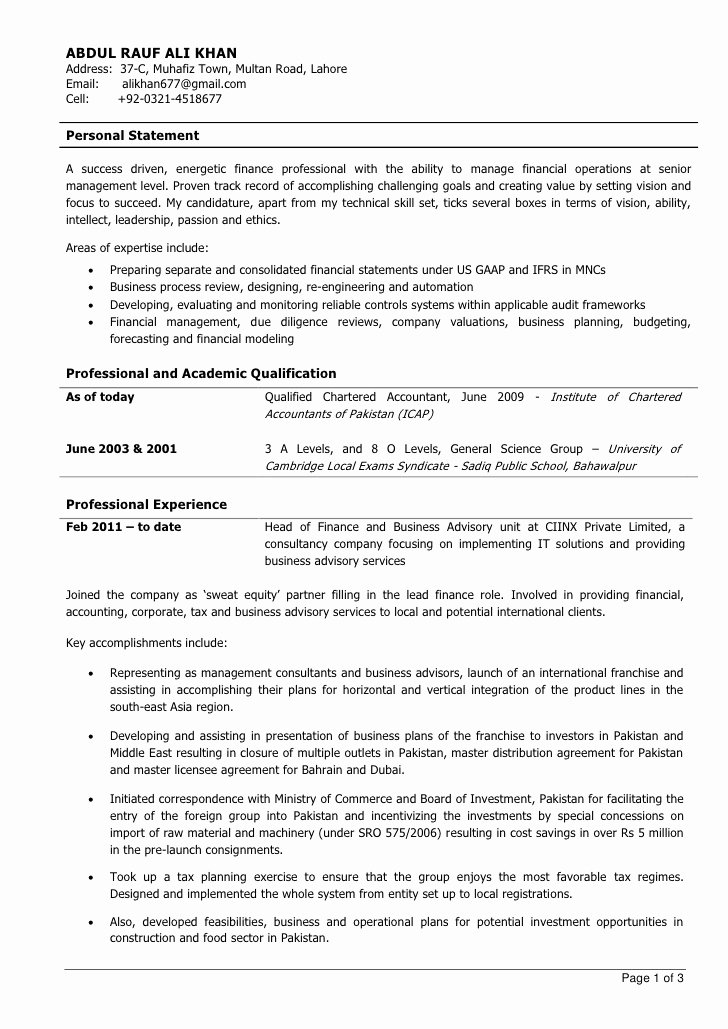 Staff Accountant Resume Summary Luxury Experienced Chartered Accountant