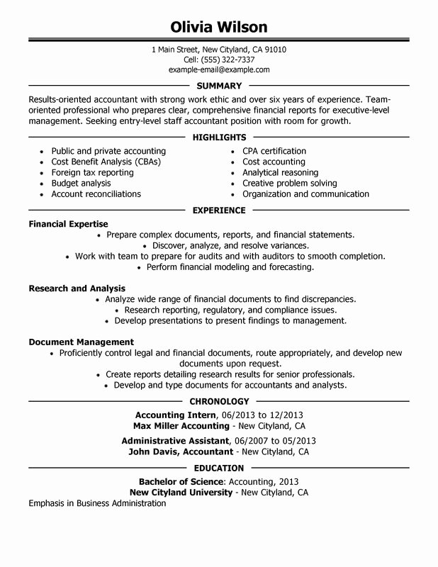 Staff Accountant Resume Summary Luxury Staff Accountant Resume Examples – Free to Try today