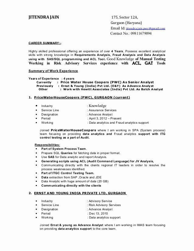 Staff Accountant Resume Summary Unique Resume Jitendra