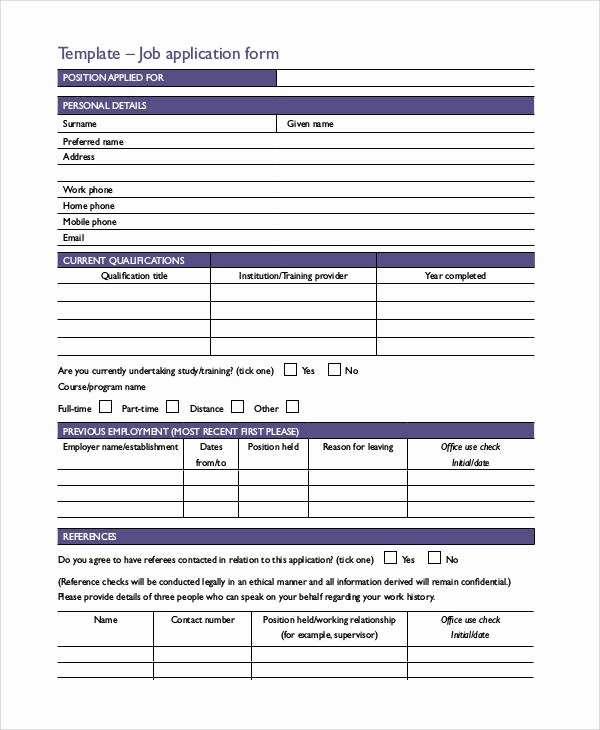 Standard Job Application Awesome Basic Application forms