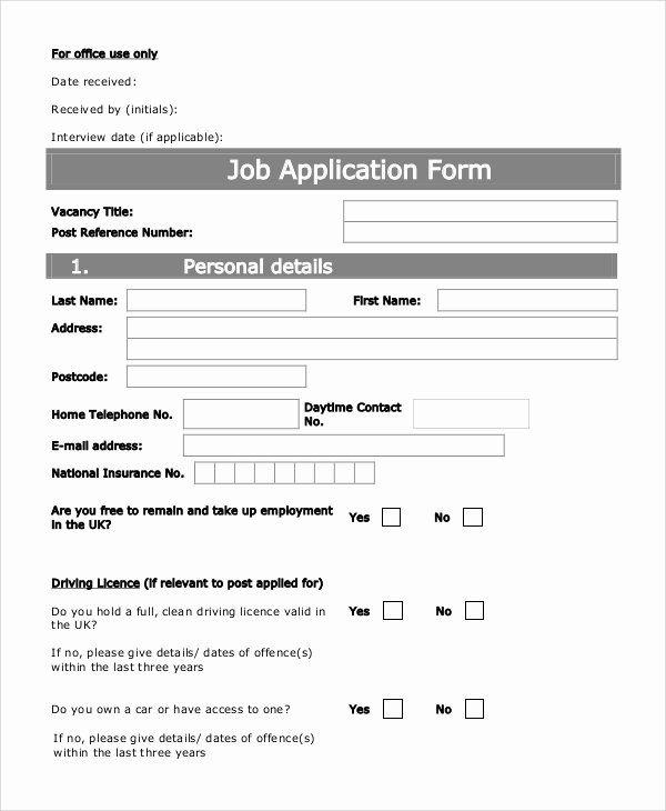 Standard Job Application Elegant Sample Printable Job Application form 10 Examples In