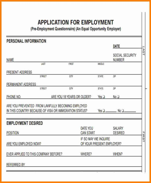 Standard Job Application Fresh 12 Standard Application for Employment
