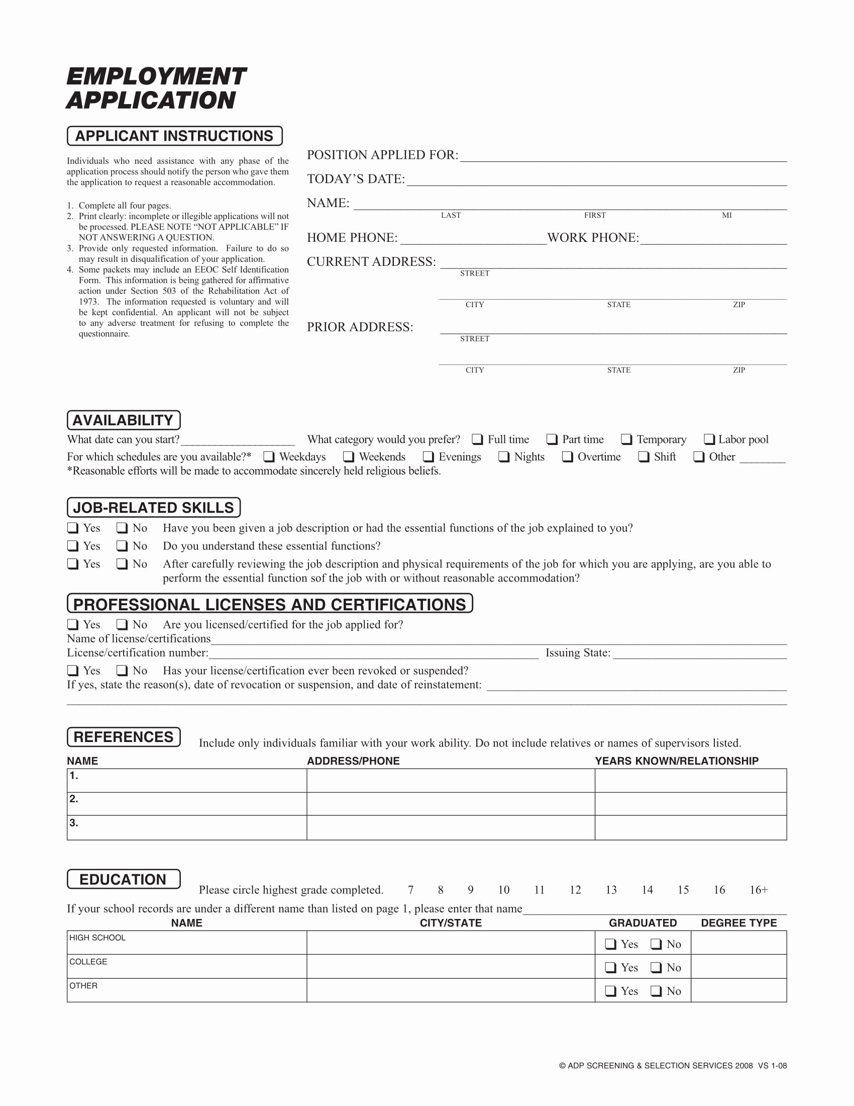 Standard Job Application Lovely 20 Application form Samples for Job events Businesses