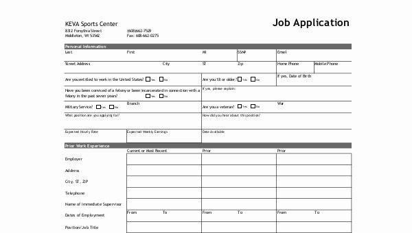 Standard Job Application Lovely Standard Job Application form Samples 8 Free Documents