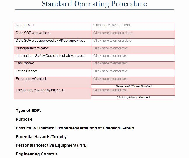 Standard Operating Procedures Examples Free New 37 Best Standard Operating Procedure sop Templates