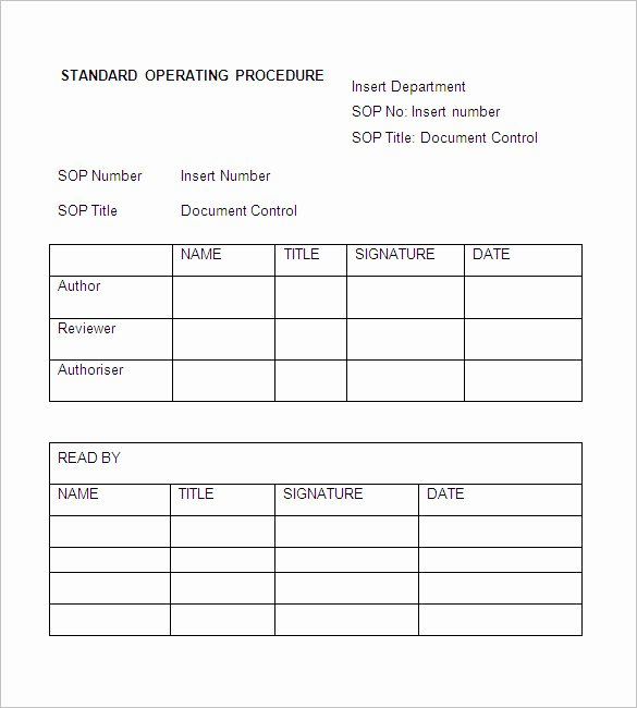 Standard Operating Procedures Examples Free Unique sop Template Standard Operating Procedure Template