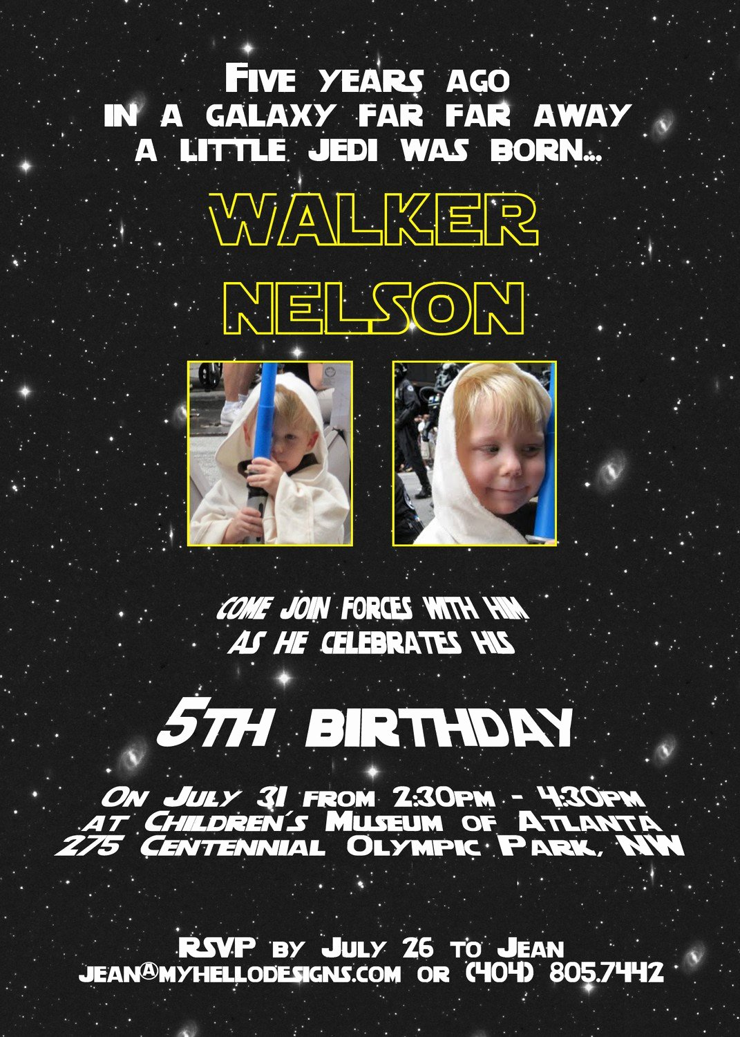 Star Wars Birthday Invitation Wording Elegant Printable Star Wars Inspired Invitation Jedi by Myhellodesigns