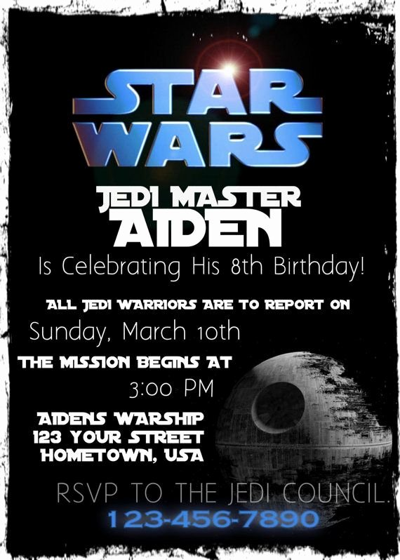 Star Wars Birthday Invitation Wording Fresh Star Wars Birthday Party Invitation Printable by