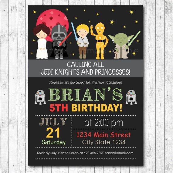 Star Wars Birthday Invitation Wording Inspirational Star Wars Invitation Star Wars Invite Star Wars Birthday