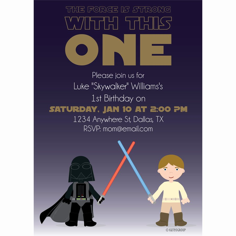 Star Wars Birthday Invitation Wording Unique Starwars First Birthday Party Invitation
