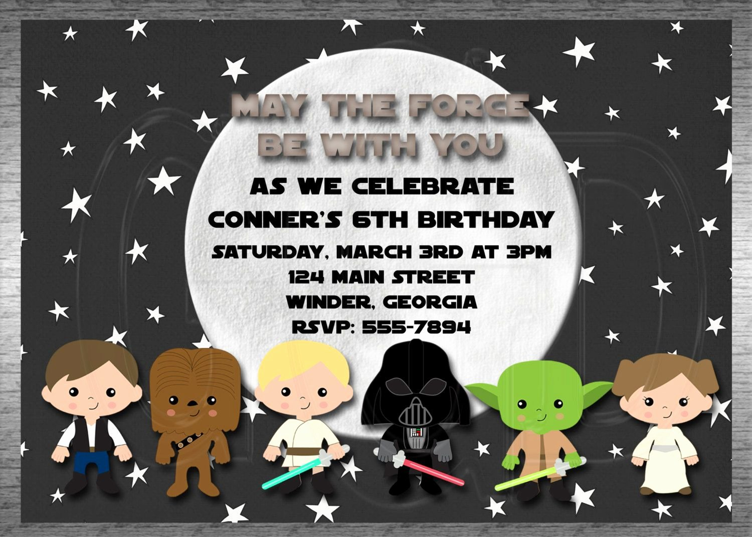 Star Wars Invitations Printable Beautiful Star Wars Invitation Inspired Printable Digital File $12