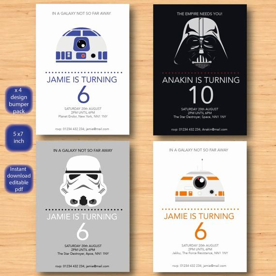 Star Wars Invitations Printable Fresh Star Wars X 4 Invitations Set Self Editable Pdf All 5