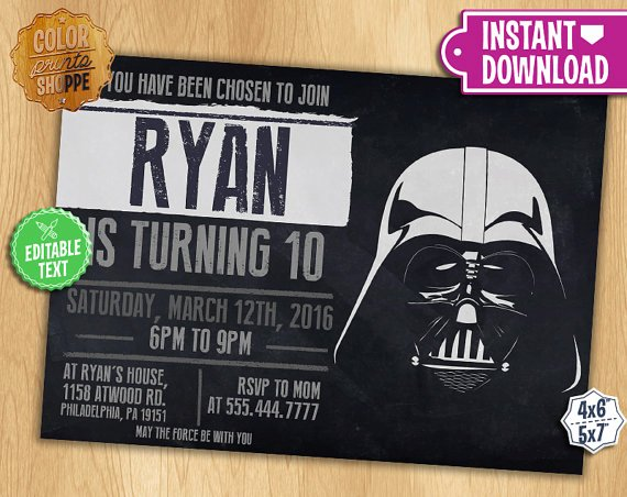 Star Wars Invitations Printable Unique Star Wars Invitation Editable Text Darth Vader