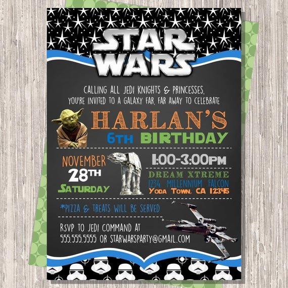 Star Wars Invitations Printable Unique Star Wars Invitation Star Wars Birthday Invitation Star Wars
