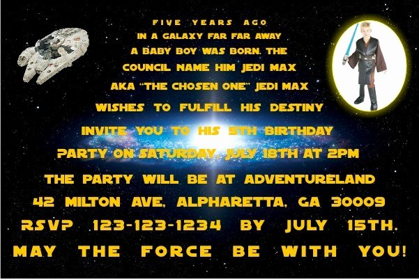Star Wars Invitations Wording Awesome Star Wars Invitations Personalized Party Invites