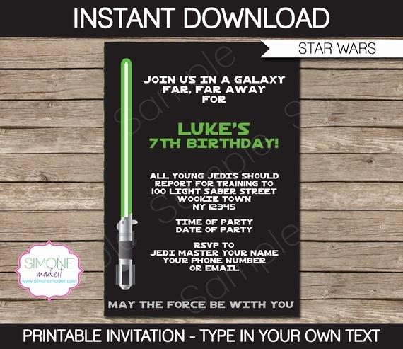 Star Wars Invitations Wording Elegant Star Wars Invitation Template Birthday Party Instant