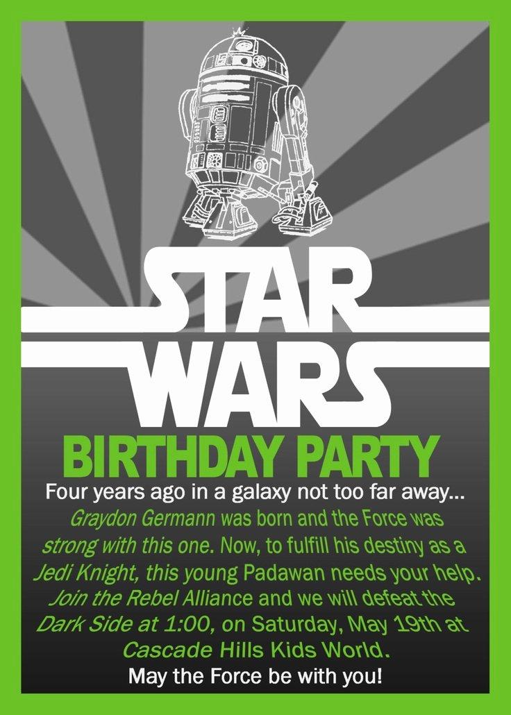 Star Wars Invitations Wording Lovely Free Printable Star Wars Birthday Invitations