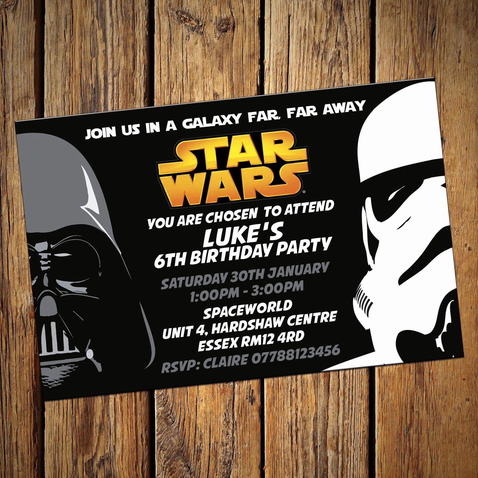 Star Wars Invitations Wording Luxury Personalised Star Wars Invitations Party Invites