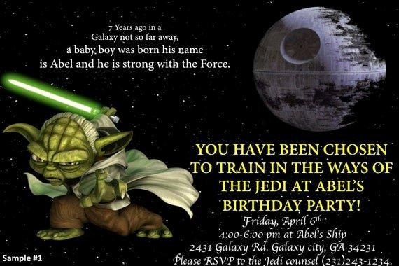 Star Wars Invitations Wording Luxury Star Wars Custom Invitations by Blunadesigns7623 On Etsy