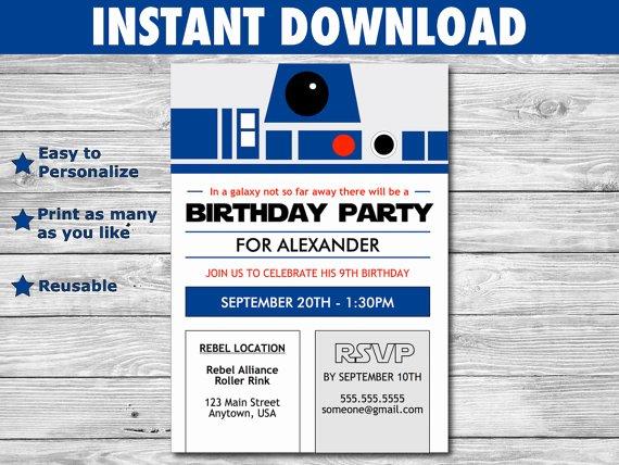 Star Wars Invitations Wording Unique Star Wars R2 D2 Birthday Invitation Diy File You Personalize