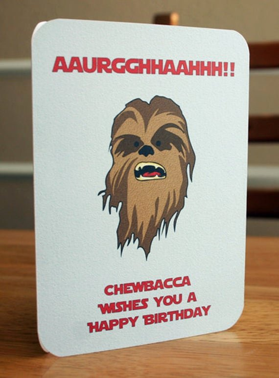 Star Wars Printable Birthday Cards Awesome Star Wars Printable Birthday Card Chewbacca by