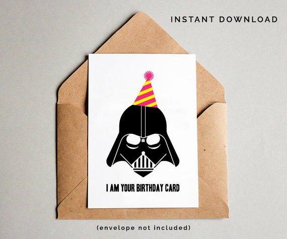 Star Wars Printable Birthday Cards Beautiful Star Wars Birthday Card Darth Vader Birthday Card Star Wars
