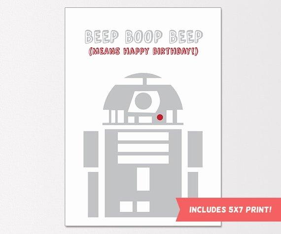 Star Wars Printable Birthday Cards Fresh Star Wars Birthday Card R2d2 Birthday Card by Claresprintables