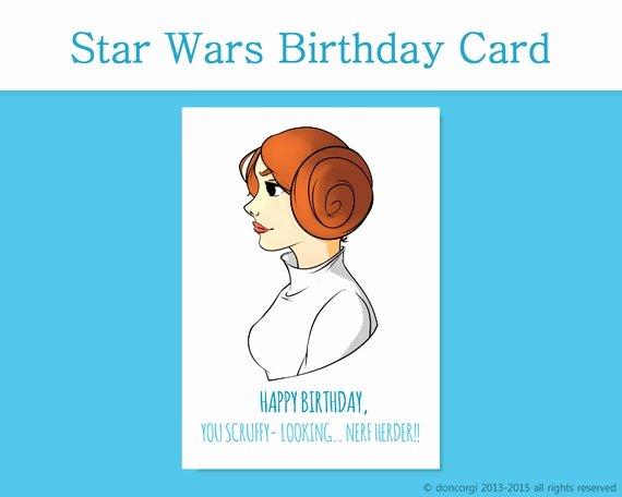 Star Wars Printable Birthday Cards New Star Wars Birthday Card Princess Leia Printable Card